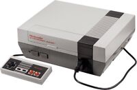 NES console with cords and controller and Mario 3