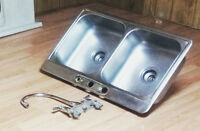Kitchen sink and Moen Faucet, Stainless steel $85