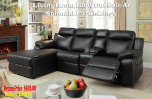 Reclining 4 Pc Leather gel Sectional with Push back Reclining/ C