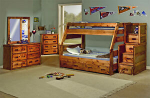 Solid Pine Twin over Full Bunk Beds! Free Delivery!