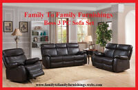 **NO TAX EVENT**: BOSS 3 PC AIR LEATHER SOFA SET