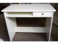 White IKEA desk with small draw - sold