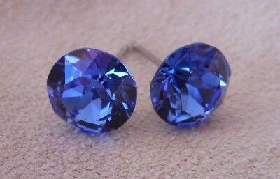 HYPOALLERGENIC Stud Earrings Swarovski Elements Crystal in Sapphire Color
