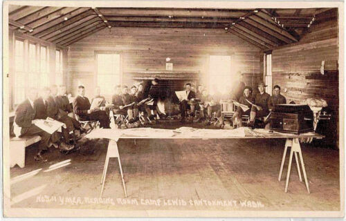 1918  RPPC Camp (Fort) Lewis Cantonment, WA Army Military YMCA Reading Room
