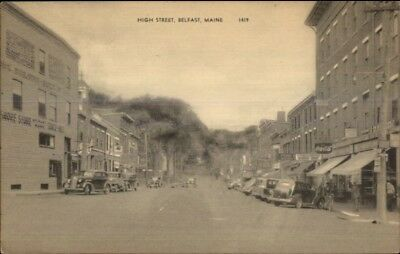 Belfast ME High St. Cars & Visible Signs Old Postcard, used for sale  Shipping to United Kingdom