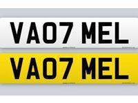 CAR REGISTRATION PLATE VA07 MEL