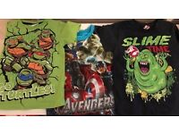 6 USED BOYS TSHIRTS AGED 3-4 YEARS 3 JO JO MAMAN BEBE / 1 TURTLES / 1 AVENGERS / 1 GHOSTBUSTER