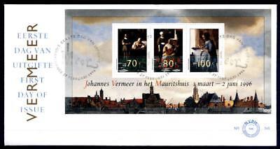 Johannes-Vermeer-Gemälde in Washington und Den Haag. FDC. Block.Niederlande 1996 ()