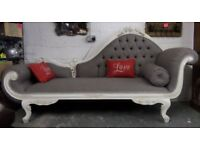 Stunning NEWLY Upholstered French Louis Chaise Longue Lounge Grey - Uk Delivery