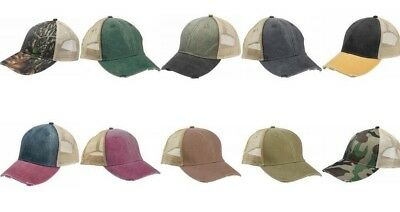 Adams Kappe Herren 6-panel Pigment-Dyed Distressed Trucker, Baseballkappe, ol102 Adams, 6 Panel