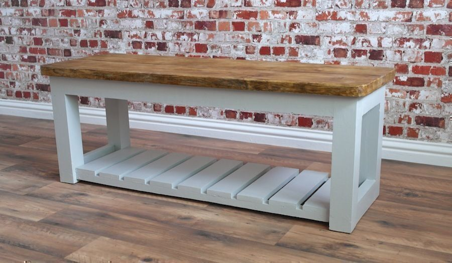Rustic Hall Bench / Shoe Storage Bench made from Reclaimed Wood Pine  Farmhouse Style - Rustic Hall Bench / Shoe Storage Bench Made From Reclaimed Wood