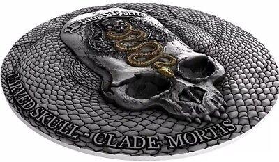 2018 1 Oz Silver Cameroon CARVED SKULL III Clade Mortis Bones Coin, 1000 Francs.