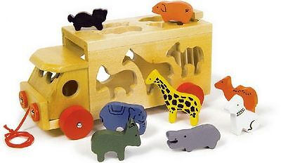 Traditional Wooden Animals Zoo Transporter Toy Pull Along Shape Sorter Wagon
