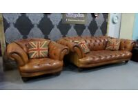 Fantastic Tetrad Oskar 3 Seater Sofa & Club Chair in Tan Leather - Uk Delivery
