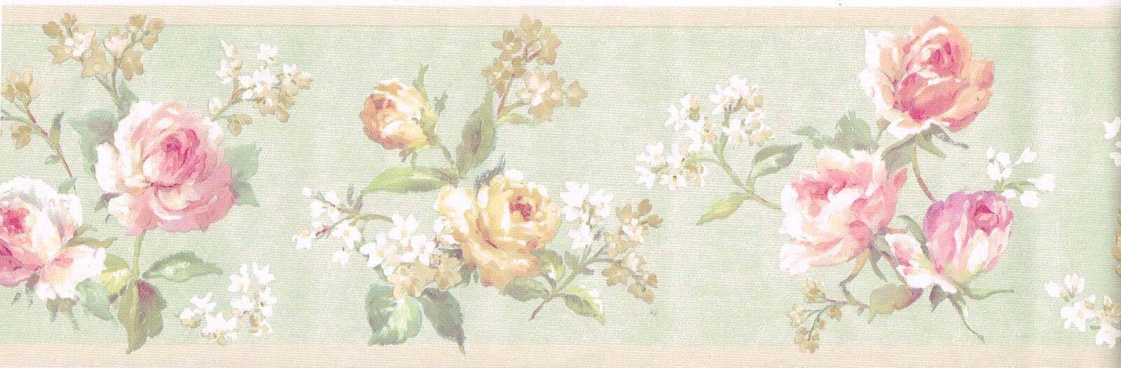 Victorian Pink Cream Rose Floral Flower Light Green Silk Satin Wall