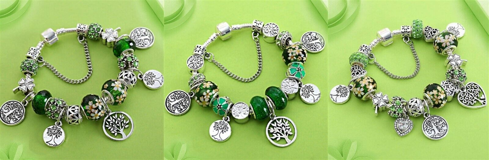 Authentic Pandora Charm Bangle Bracelet 925 Sterling Silver Green Tree of Life