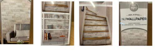 wallpops nuwallpaper 30.75-sq ft white vinyl brick self-adhesive peel & stick