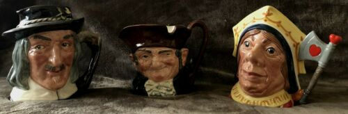 LAST LOT OF 3: Royal Doulton LARGE Toby Mugs: IZAAK WALTON OLD CHARLEY RED QUEEN