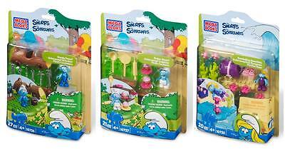 Collect The Smurfs Handy Smurf, Baker Smurf & Snorkeling Smurfette by Mega Bloks