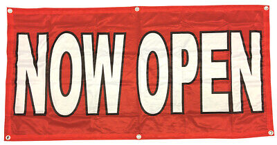 Now Open Banner Sign Vinyl Alternative 2x4 Ft - Fabric Rb