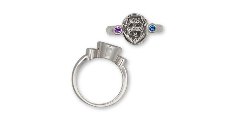 Norfolk Terrier Birthstone Ring Jewelry Sterling Silver Norfolk Terrier Birthsto