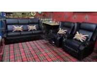 Stunning Saxon Chesterfield 3 Seater sofa & 2 Recliner Chairs in Black Leather - Uk Delivery