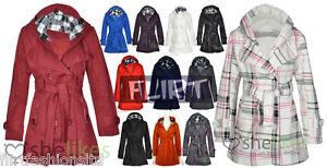 Women-Check-Hood-Jacket-Coat-Ladies-Belt-Button-Fleece-Hooded-Coats-6-8-10-12-14