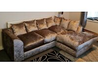 Crushed Velvet 4 Seater Corner Sofa