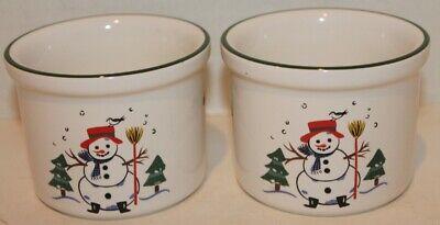Set of 2 VTG Pfaltzgraff Snow Village Holiday Dip Bowls/Ramekins - -
