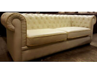 Large Chesterfield style sofa-cream. Delivery available