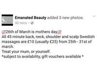 Swedish massage offer for mothers day
