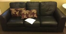 3 Seater Black Leather Sofa (Excellent Condition)