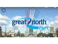 2 x Great north run places male and female