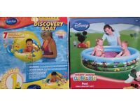 Kids Inflatable DISCOVERY BOAT With UV Sun Canopy and Disney Paddling Pool New In Boxes