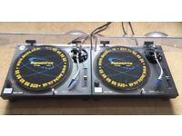 2 X Technics SL-1210 Mk2 Turntables With Original Lids & Ortofon DJ Needles