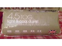 Fogarty 4.5 Tog Summer weight double duvet, bnib from Dunelm, unused, still in packet