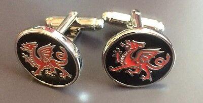 Wales Dragon CUFFLINKS Welsh Dragon Executive CYMRU Embossed Rugby cuff links