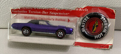 VINTAGE 1967 MATTEL HOT WHEELS REDLINE CUSTOM ELDORADO PURPLE W/Button Sealed