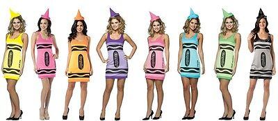 Crayola Crayon Costume Womens Female Adult Fancy Dress Pink Yellow Green - Pink Crayola Costume