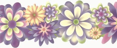 Wallpaper Border Flower Power Lavender Pink Green Orange Yellow Double Die (Orange Flower Wallpaper)