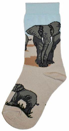 Trouser Crew Sock Sky Blue n Sand 'Elephant Herd' NWT Women's 9-11 WILD HABITAT