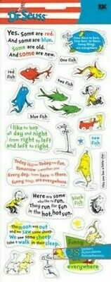 DR. SEUSS One Fish Two Fish There Here Everywhere Funny HTF Jolee's large sheet - Dr Seuss Stickers