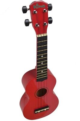 Kona Soprano Ukulele In Red With Matching Soft Case!