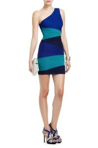 BCBG Blue and Green One Shoulder Pleated Bandage Dress