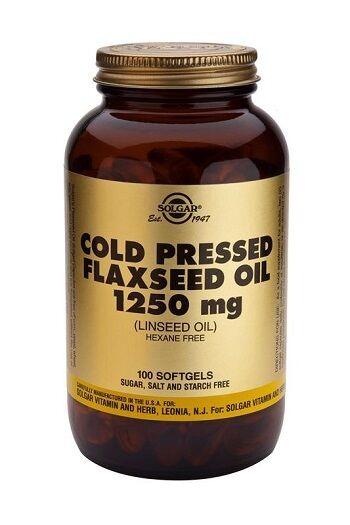 Solgar, Cold Pressed Flaxseed Oil 1250 mg Softgels , 100