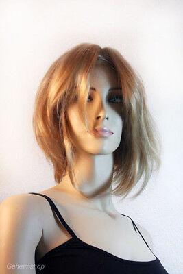 Sexy blonde Perücke Pagen Haarschnitt Bob Pagenschnitt Blond mit langem Pony! (Blonde Perücke Mit Pony)