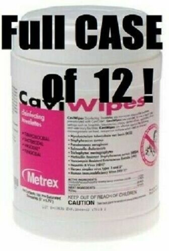 """CASE of 12 Metrex 13-1100 CaviWipes Germicidal Towelettes Large 6"""" x 6.75"""""""