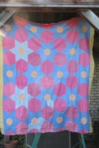 Antique Primitive Quilt Top Stars & Hexagons Americana Amish Art