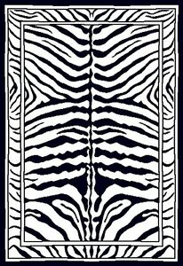 Zebra Modern Black Area Rug 4x6 Animal Skin Print Mat - Approx 3' 7