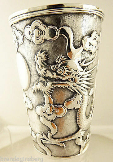 Antique Chinese Export Silver Beaker Mug w Repousse Dragon Clouds (5510)